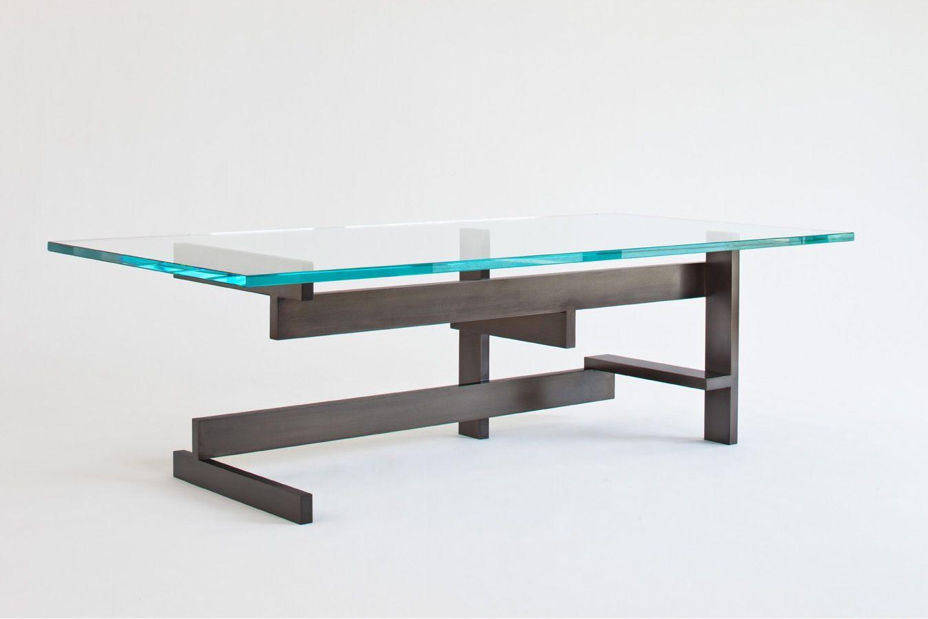 Custom Made Modern Metal And Gl Coffee Table