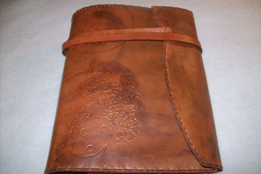 Custom Made Leather Executive Planner With Flowers, Ladybug And Tie Closure