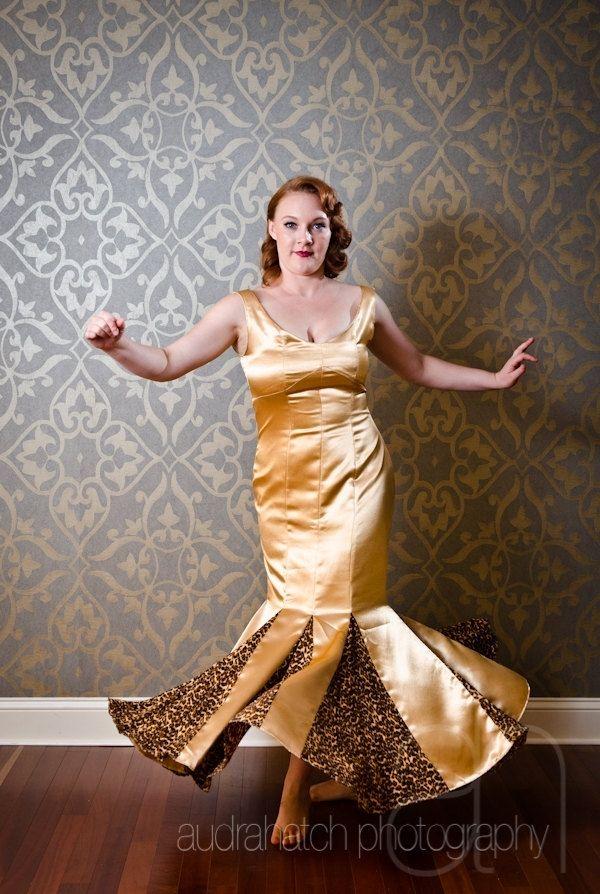 Custom Made Jasmine Handmade Gold 1950s Style Prom Dress