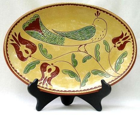 Custom Made Sgraffito Plate - Bird With Tulips  , Ceramic Plate