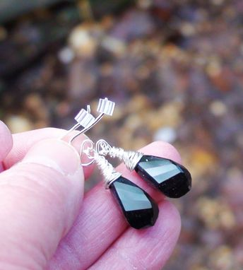 Custom Made Jet Black Swarovski Crystal Helix Earrings On Sterling Silver Fishhook Earwires