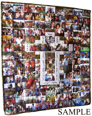 Custom Made 36 X 52 Family Photographs Art Quilt With Vert. Photos