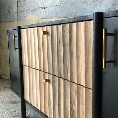 Custom Made Modern Black Credenza W Hand Cut Fluted Drawers In Reclaimed Oak