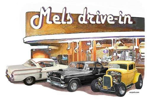 "Custom Made American Graffiti T-Shirt ""Mels Trio"" Movie Art"