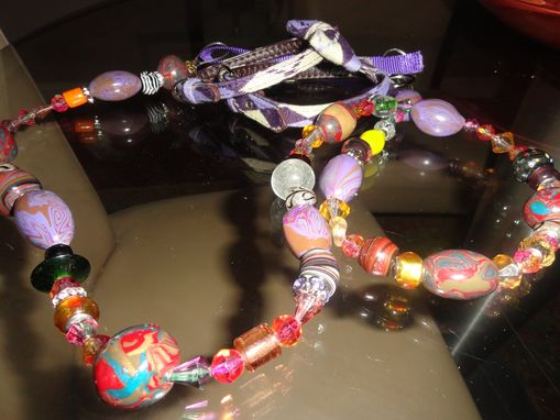 Custom Made Dog Leash/Polymer Clay, Glass Beads
