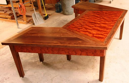 Custom Made Waterfall Bubinga Wedge Desk