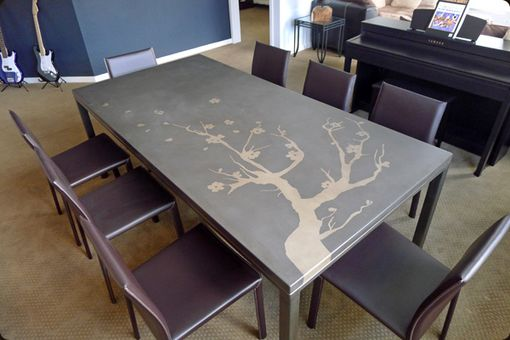 Custom Made Concrete And Steel Dining Table