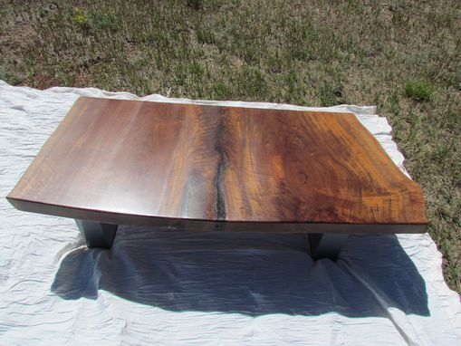 Custom Made Clario Walnut Buffet , Coffee Table And Desk Made From 1 Piece Of Wood
