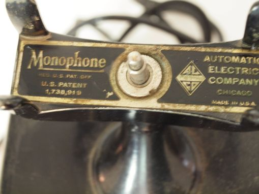 Custom Made Vintage Automatic Electric Company Monophone Telephone Black Commercial Hand Crank
