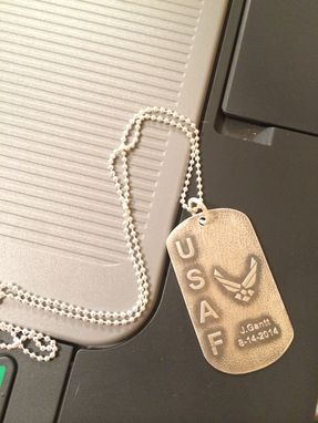 Custom Made Sterling Silver Dog Tag - Personalized Name Engraving