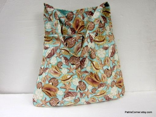 Custom Made Pleated Vegan Shoulder Bag Sea Life Seashells - Ready To Ship