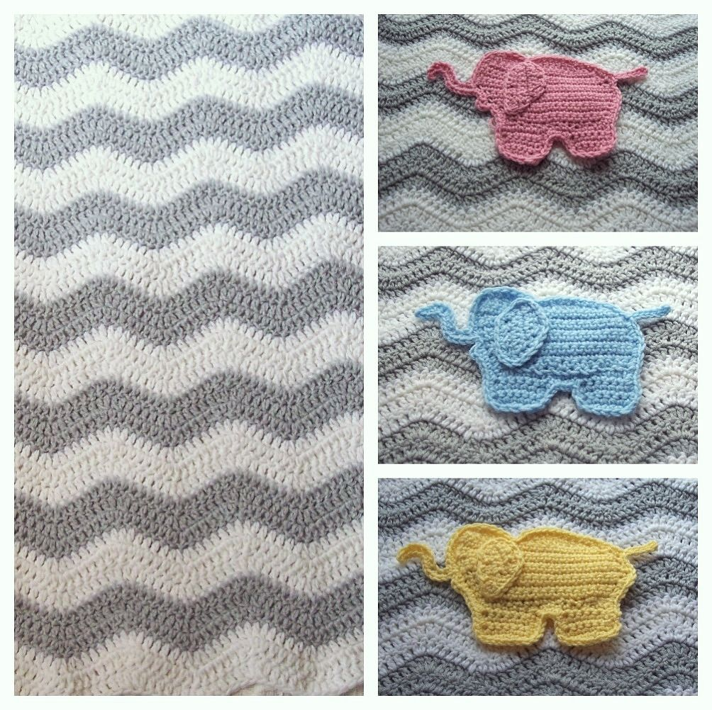 Handmade Gray Chevron Elephant Baby Blanket by Puddintoes ...