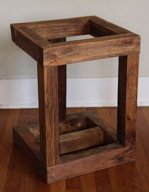 Custom Made Handcrafted Record Player Stand Made From Reclaimed Fishtail Oak