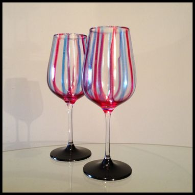 Custom Made Red And Blue, Abstract Design White Wine Glasses.