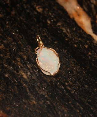 Custom Made Gorgeous Mintabi Old Stock Australian Solid Opal, In 14kt Gold Filled Wire, With Red Flash