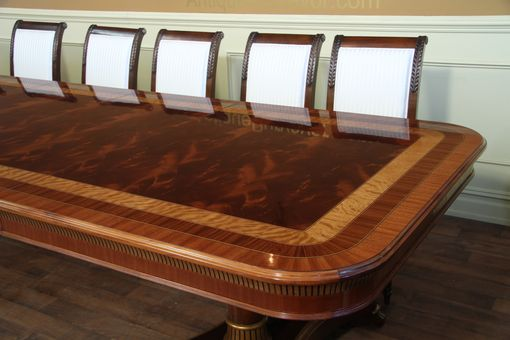 Custom Made Extra Large Regency Inspired Transitional Dining Room Table, Copyrighted Design