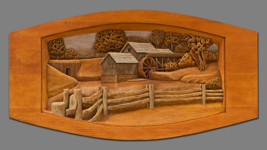 Hand made relief carving of grist mill painted in oils by