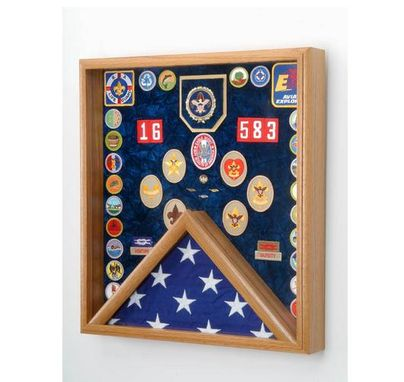 Custom Made Scout Deluxe Awards And Flag Display Case