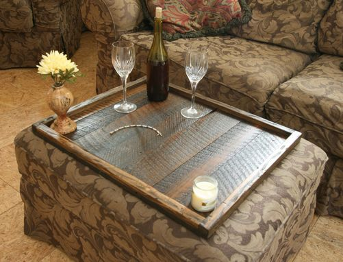 Custom Made Distressed To Impress! Rustic Modern Oversized Ottoman Tray Table Top Serving Breakfast Tray