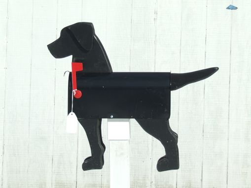 Custom Made Black Dog Mailbox Art