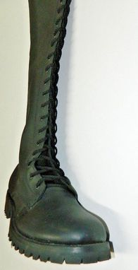 Custom Made Lace Up Engineer Boots Thick Dull Oiled Leather Men Size Any Height Is Available And Can Be Made