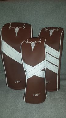 Custom Made Brown And White Skull Embroidered Custom Fore Leaf Golf Head Covers, Driver, Fairway, Hybrid