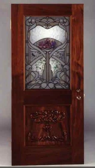 Custom Made Stained Glass Art Nouveau Door By Lederer