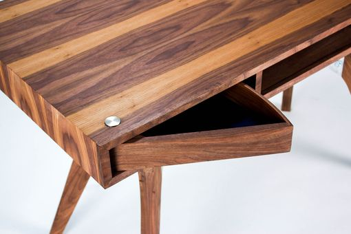 Custom Made Walnut And Aluminum Desk