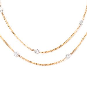 Custom Made Diamond By The Yard Necklace In 14k White And Yellow Gold, Diamond Necklace, Ladies Necklace