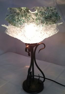 Custom Made Fused Glass Textured Double Shade Table Lamp