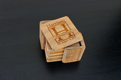 Custom Made Custom Bamboo Coasters, Custom Engraved Coasters --Cst-Bam-Harrison