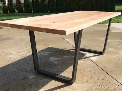 Custom Made Maple Dining Table With Raw Steel Base
