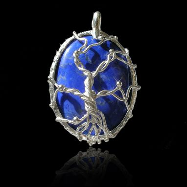 Custom Made Big Silver Tree Of Life Pendant Necklace - Fused Branches On Textured Frame – Howlite-Lapis