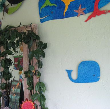 "Custom Made Handmade Upcycled Metal Whale Wall Art Sculpture In Aqua Blue ""Milo''"