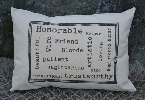 Custom Made Personalized Traits Pillow Cover 12 X 16