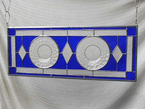 Custom Made Stained Glass Panel, 1930s Jeannette Cubist Depression Glass Stained Glass Window, Antique Valance