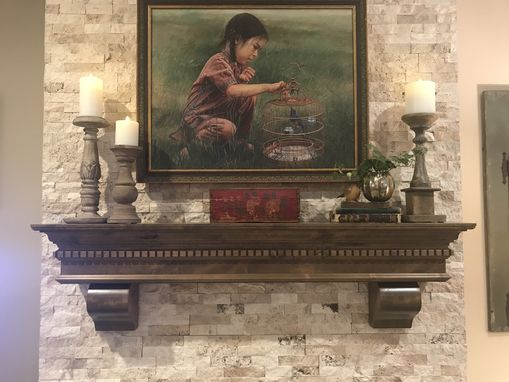 Custom Made Fireplace Mantel Traditional Dental Molding Snake River Design With Corbels Stained Dark Walnut