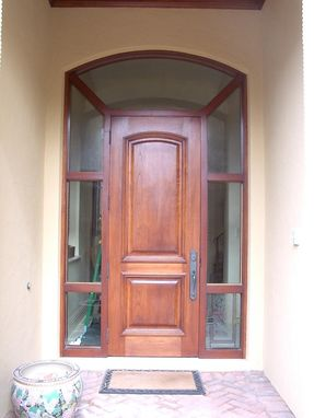 Custom Made Entryway Upgrade With Simple Decorative Stained & Beveled Glass Panels