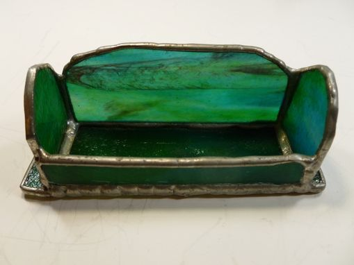 Custom Made Stained Glass Business Card Holder In Green