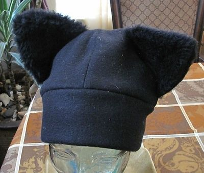 Custom Made Black Fleece Fur Cat Ears Winter Warm Ski Beanie Scull Hat In 6 Sizes