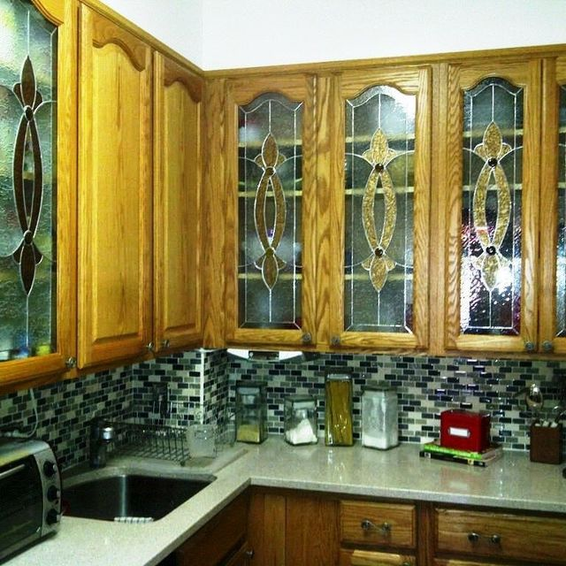 Hand Crafted Elegant Stained Gl Custom Kitchen Cabinet Inserts