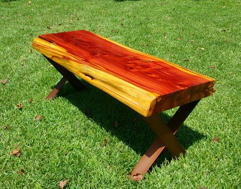 Custom Made Live Edge Cedar Bench With Steel Powder Coated Legs