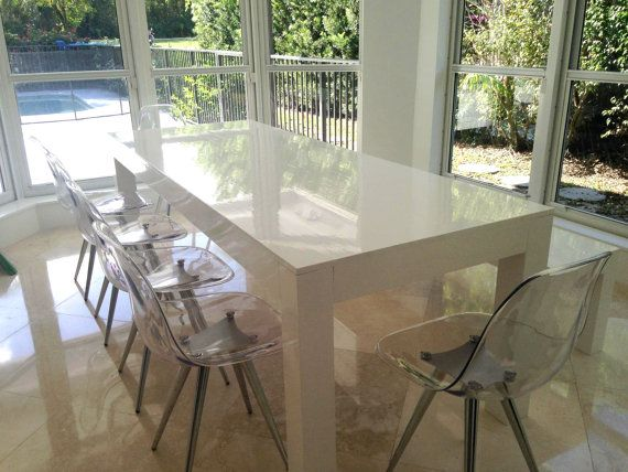 Hand Crafted Modern White Parsons Table And Bench Dining