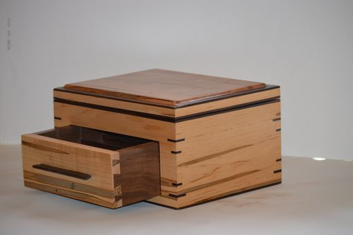 Custom Made Rosewood And Ambrosia Maple Jewelry And/Or Watch Box Valet With Drawer And Lid