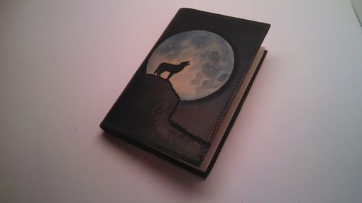 Custom Made Leather Wolf And Moon Journal Cover