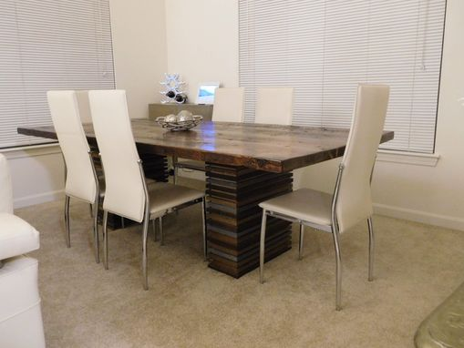 Custom Made Reclaimed Softwood Dining Table With Alternating Wood Banded Legs