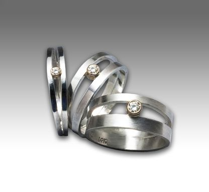 Custom Made Sterling Silver Brushed Matte Double Orbit Ring With Conflict-Free Diamond Set In 14k Gold