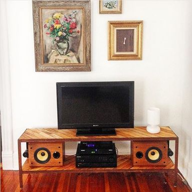 Custom Made Reclaimed Flooring And Salvaged Steel Media Console