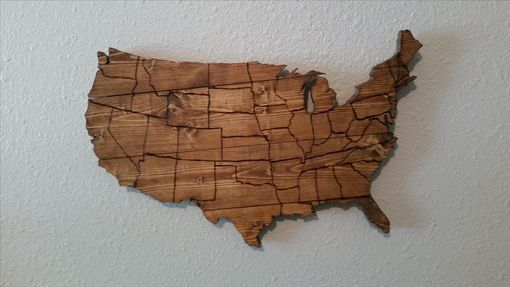 Custom Made Usa Map Wooden Wall Art