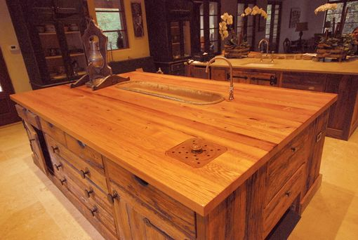 Custom Made Large Reclaimed Red Oak Island